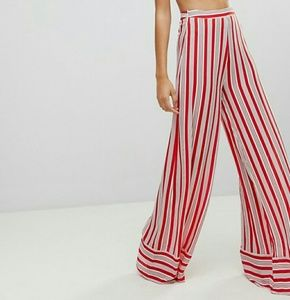 PrettyLittleThing Pants - Pretty Little Thing Candy Striped Trousers Size 4